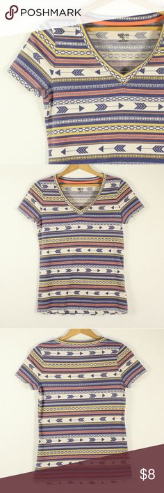 """Mossimo Tribal Arrows V-Neck Top - Size M Preloved. (One of my faves!!) Good Used Condition. Cute v-neck with arrows and tribal print. Blue, yellow, orange, and cream colors. **Listing is for t-shirt only**  Approximate Measurements:  Length: 24"""" Shoulders: 14"""" Chest: 16.5"""" Sleeve Opening: 5""""  Any questions, please ask! Mossimo Supply Co. Tops Tees - Short Sleeve"""
