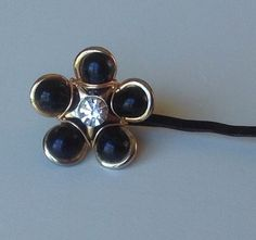 Black Vintage Flower Bobby Pin Wire Wrapped Black Flower Silver Rhinestone Mod Hairpin CrazyVIntageBoutique Hair Accessories Black Bobby Pin by CrazyVintageBoutique on Etsy