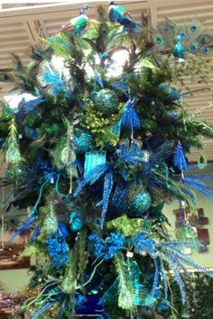 Upside Down Peacock Christmas Tree
