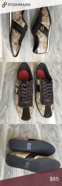 Price firm Coach brown signature sneakers NWB Coach brown signature sneakers NWB Coach Shoes Sneakers