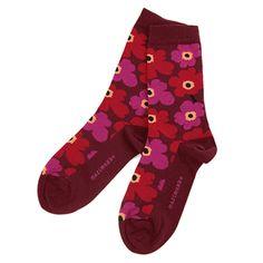Marimekko Adult Red/Fuchsia Unikko Socks - Click to enlarge