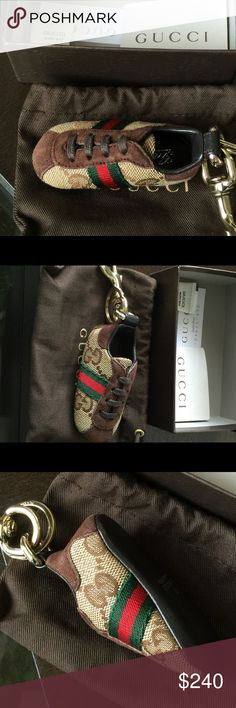 "Authentic GUCCI Sneaker Bag Charm Pre-Owned GG Bag charm. 5.7"" with buckle. Hardware is gold. Purchased to go with GUCCI tote that's listed. Charm is in great condition. Comes in box with dust bag! (Price discounted if purchased with GUCCI Tote). Gucci Other"