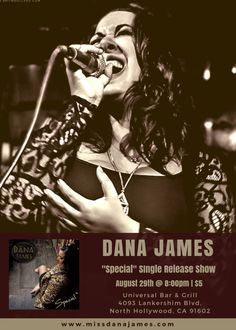 """- """"Special"""" Single Release Show To celebrate the release of """"Special"""", Dana will be performing at Universal Bar & Grill in North Hollywood on August @ Event Flyers, North Hollywood, Bar Grill, Celebrities, Movies, Movie Posters, Barbecue Pit, Films, Film Poster"""