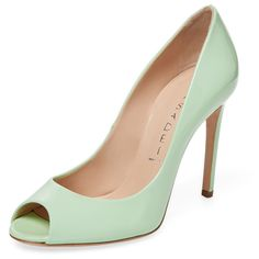 Casadei Women's Patent Leather Peep-Toe Pump - Green, Size 36 ($190) ❤ liked on Polyvore featuring shoes, pumps, green, patent leather peep toe pumps, peep-toe pumps, patent peep toe pumps, green shoes and high heeled footwear
