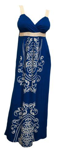 Plus Size Embroidery Print Empire Waist Maxi Dress Blue (bestseller)