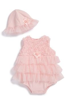 Free shipping and returns on Little Me 'Rosette' Romper & Hat (Baby Girls) at Nordstrom.com. A frilly tulle skirt adds ballet-inspired charm to a darling romper paired with a matching hat.