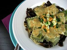 ... Cooks: Gorgonzola Ravioli with Hazelnut Cream Sauce and Radicchio