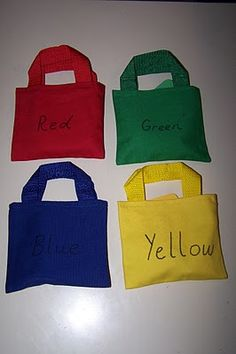 Color Bags - solid colored bags with items of the same color inside. Great for sorting activities and learning colors!