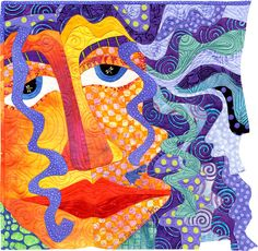 Girl with Purple Hair Too by Judith Reilly | Quilt Art.  Machine pieced and appliqued.