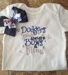 MLB LA Dodgers girls wear bows and bling shirt and bow on Etsy, $18.00