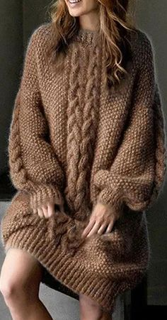 Loose Long Sleeve Sweater Knitted Thickened Dress Always wanted to discover how to knit, however not certain the place to begin? This kind of Absolute Beginner Knitting L. Casual Dresses For Women, Casual Outfits, 40s Mode, Fast Fashion Brands, 40s Fashion, Pullover Mode, Mode Outfits, Sweater Fashion, Types Of Sleeves