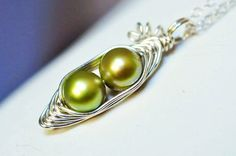Two peas in a pod peapod necklace - green freshwater pearl  - a  Mu-Yin Jewelry original