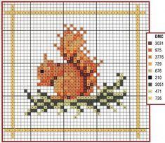 Cross Stitching Squirrel Fall Free Pattern / Kreuzstich Eichhörnchen Herbst Vorläge Freebie