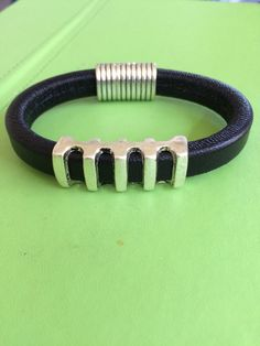 Unisex Leather and Silver Bracelet by joytoyou41 on Etsy