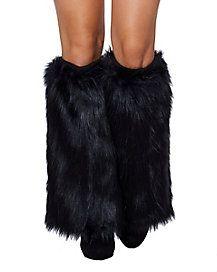 Black Cat Furries Faux Fur Leg Warmers