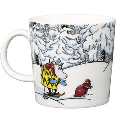 Moomin winter season mug 2016 features Moomintroll, Hemulen, Sorry-oo and the Snowhorse from the book Moominland Midwinter. The design is based on Tove Jansson' Moomin Mugs, Christmas Wishlist 2016, Tove Jansson, Cross Stitch Designs, Winter Season, Finland, Horses, Statue, Snow