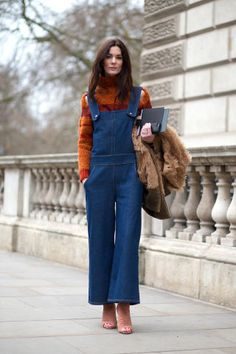 Hedvig Opshaug in chic overalls. See the best street style looks at London Fashion Week right here: