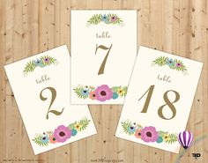 Wedding table numbers 1-20 Vintage Floral Design Vintage Printable Floral Seating Wedding Decor, Instant Download - FPD3sign - pinned by pin4etsy.com