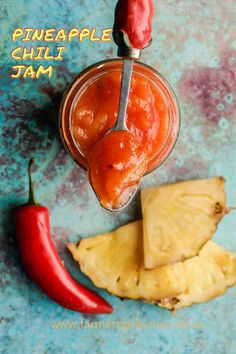 A sweet and spicy chilli relish made with sweet pineapple, ginger, garlic and chilli #pineapple #chilli #chili #jam #relish #recipe #holiday #gift Relish Recipes, Chilli Recipes, Jam Recipes, Easy Summer Meals, Summer Recipes, Scotland Food, Great British Food, Chilli Jam, Scottish Recipes