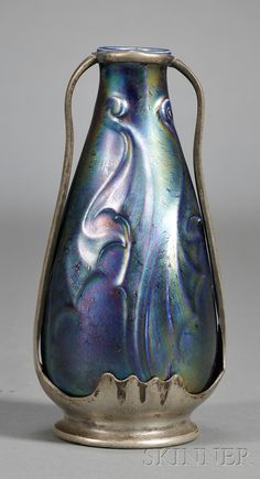 Art Nouveau Vase   Pewter and art glass   late 19th/early 20th century
