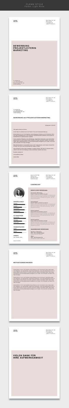 Unsere Bewerbungsvorlage ( ) Clean Style in der Farbe Light Rose. Our application template ( ) Clean Style in the color Light Rose. Less is more. Simple and clear design Cv Design, Resume Design, Layout Design, Grid Design, Book Design, Editorial Design Magazine, Magazine Design, Cv Example, Cv Inspiration