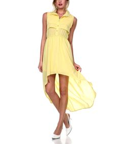 Look at this Stanzino Yellow Button-Up Hi-Low Maxi Dress - Women on #zulily today!