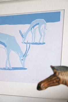 Gazelles, original linoprint, original print, limited edition, animal…