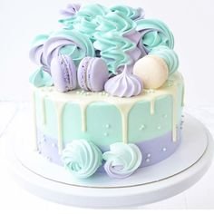 A pastel cake like this would be perfect for a unicorn themed birthday party! Love the pastel colors Beautiful Birthday Cakes, My Birthday Cake, Beautiful Cakes, Amazing Cakes, Pretty Cakes, Cute Cakes, Yummy Cakes, Crazy Cakes, Fancy Cakes