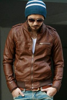 Brown Biker Men Jacket with Epaulets and Leathery Finished