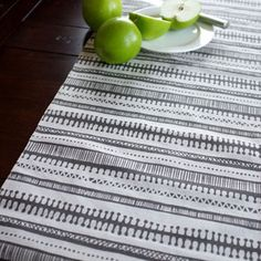Hand Screen Printed Table Runner. Trail Charcoal.