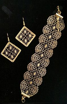 Lace Bracelet, Lace Earrings, Lace Jewelry, Crochet Earrings, Bobbin Lace Patterns, Bead Loom Patterns, Jewelry Patterns, Hairpin Lace Crochet, Crochet Motif