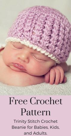 Trinity Stitch Free Crochet Hat Pattern Free Crochet Patterns - This cute crochet hat pattern is now Crochet Baby Hats Free Pattern, Crochet Baby Blanket Beginner, Bonnet Crochet, Crochet Baby Beanie, Cute Crochet, Crochet Patterns, Crochet Hats, Crocheted Baby Hats, Baby Patterns