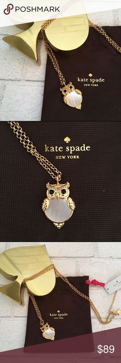 """Sold❗️Kate Spade Owl Necklace in Gold & Crystals NEW!!! Kate Spade Owl Necklace in Gold & Crystals with an Opal body. Chain is 20"""" extended and is able to adjusted to any length. 14k Gold Plated with Crystal eyes and eyebrows and an opal body. Price is Firm Unless Bundled. 10% Off 2 Items or 15% Off 3 Items or More. kate spade Jewelry Necklaces"""