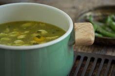 Romanian spring pea soup with flour dumplings.