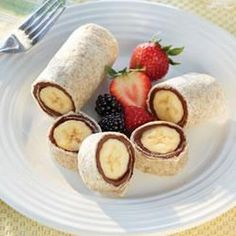 Roll-Ups with Banana and Nutella. These are probably great with peanut butter too, if you want a healthier option.
