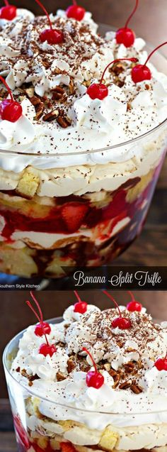 This delicious Banana Split Trifle from Melissa's Southern Style Kitchen has layers of pineapple pound cake, vanilla cream, chocolate ganache, strawberries and pineapple are all topped with whipped cream and maraschino cherries!