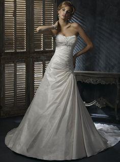 Robe de mariée simple taffetas drapé sans bretelle