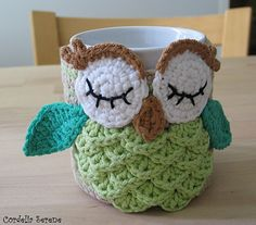 Ravelry: Owl mug cozy pattern by Justyna Kacprzak. $3.50 for pattern 5/14.