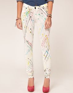 Colourful Crazy Painted Jeans