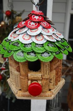 Red White & Green Beer and WIne Bird House