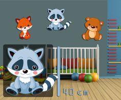 Wandbild Kinderzimmer Waschbär 40 cm, Tiermotiv Waldtier Bild für Babyzimmer | eBay