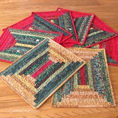 Log Cabin Quilts, Lap Quilts, Mini Quilts, Quilt Blocks, Log Cabin Quilt Pattern, Log Cabins, Quilted Placemat Patterns, Mug Rug Patterns, Quilt Patterns