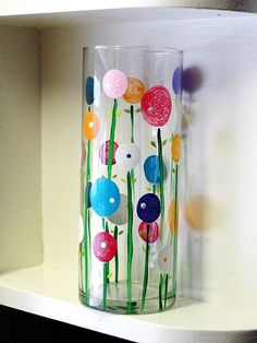 All you need is Gloss enamel paints and something glass to paint! This would be a cute thing to do also if you picked or bought some flowers for someone!