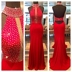 Shop at www.miabellacouture.com and find some amazing dresses for purchase while sitting at home. Check out this stunning new jersey gown by Jovani. Style JVN24844. Available in Red.