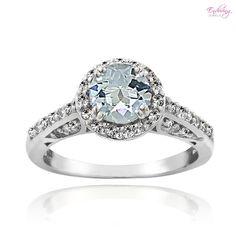 Enduring Jewels Sterling Silver Genuine Aquamarine & White Topaz Halo Ring at 54% Savings off Retail!