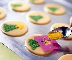Use stencils to help decorate your favorite holiday cookies! More garnish ideas: http://www.bhg.com/christmas/recipes/christmas-garnishes/?socsrc=bhgpin112213stenciledcookies&page=1
