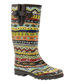 Take a look at this Black & Yellow Tribal Rain Boot by Bops! on #zulily today! $30 !!