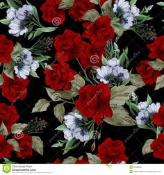Vector Seamless Floral Pattern With Red Roses Stock Vector - Image: 50428835