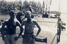LT John F. Kennedy and LT John McElroy at Rendova Island, August 1943.  PT-161 in the background Pt Boat, Pearl Harbor Attack, Lest We Forget, United States Navy, Young And Beautiful, Thank God, World War, American History, Wwii