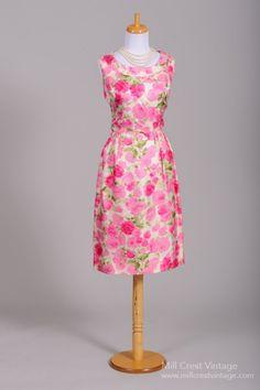 1960's Pink Rose Print Silk